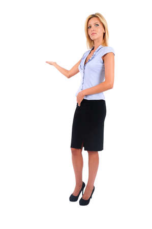skirt suit: Isolated Young Business Woman Presenting Stock Photo