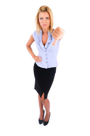 Isolated Young Business Woman Dislike photo