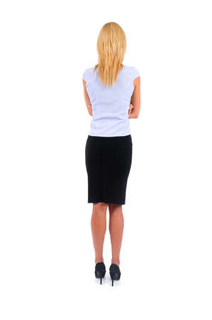 Isolated Young Business Woman Backview photo