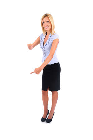something: Isolated Young Business Woman Leaning Wall Stock Photo