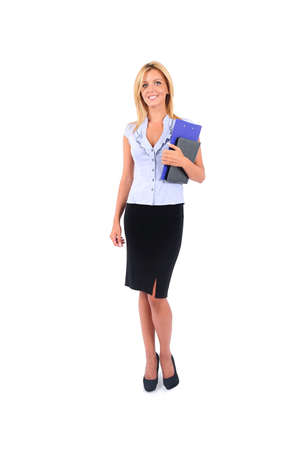 Isolated Young Business Woman With Notebook photo