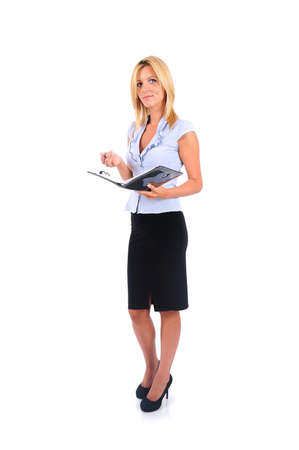 secretary skirt: Isolated Young Business Woman Writing