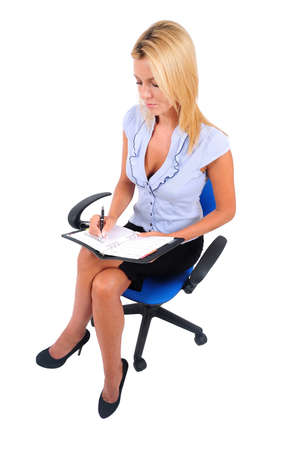 skirt suit: Isolated Young Business Woman Writing seat Stock Photo