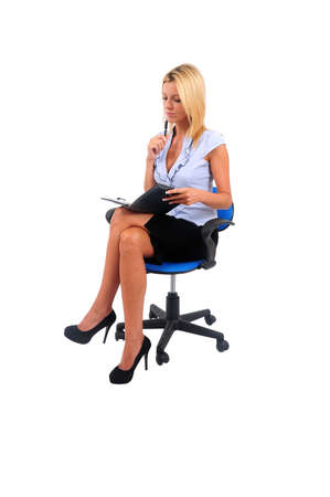 Isolated Young Business Woman Thinking seat photo