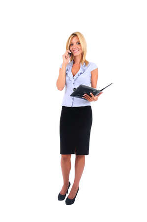 Isolated Young Business Woman Speaking at Phone photo