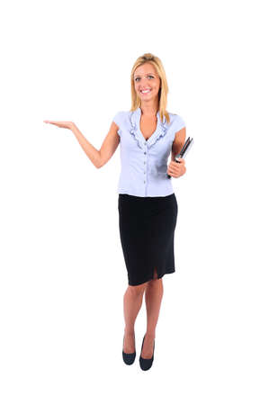 Isolated Young Business Woman Presenting Stock Photo - 15349259