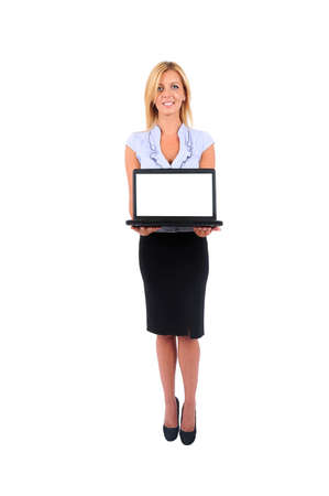 Isolated Young Business Woman Presenting Laptop photo