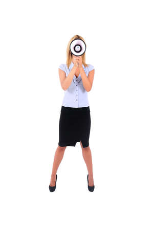 Isolated Young Business Woman Screaming with Loudspeaker photo