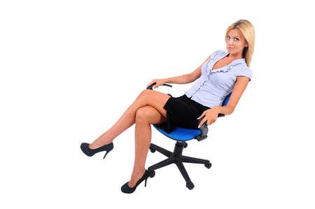 sexy secretary: Mujer de negocios joven sentado aislados