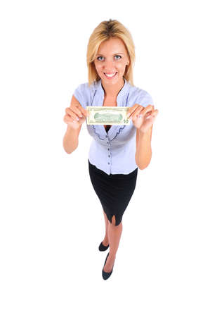 Isolated Young Business Woman Showing Money photo