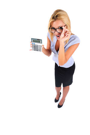Isolated Young Business Woman With Calculator photo