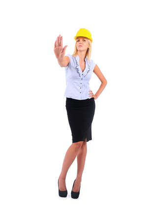 disapprove: Isolated Worker Woman With Helmet Disapprove Stock Photo