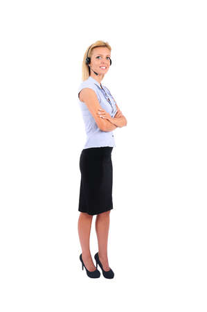 call us: Isolated Young Business Woman With Headphone