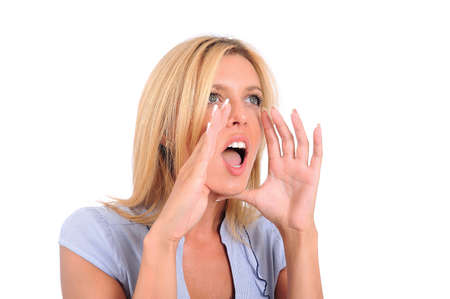 Isolated Young Business Woman Screaming Stock Photo - 15349928