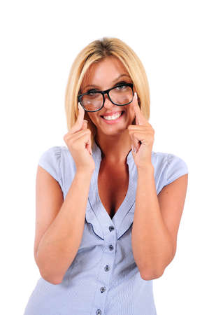 Isolated Young Business Woman With Eyeglasses Stock Photo - 15350069