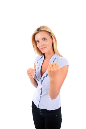 Isolated Young Business Woman Determination Stock Photo - 15349773