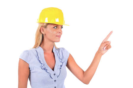 executive helmet: Isolated Young Business Woman Pointing