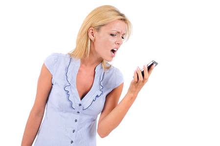 Isolated Young Business Woman Screaming At Phone photo