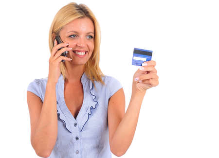 Isolated Young Business Woman Holding Credit Card photo