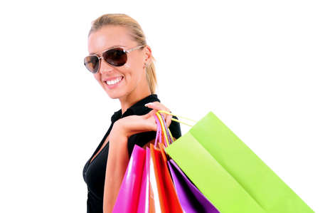 Isolated Young Casual Girl With Shopping Bag Stock Photo - 15349652