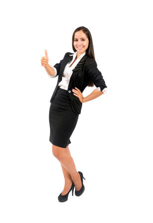 Isolated young business woman approval Stock Photo - 15387995
