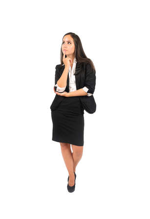 Isolated young business woman thinking Stock Photo - 15388043