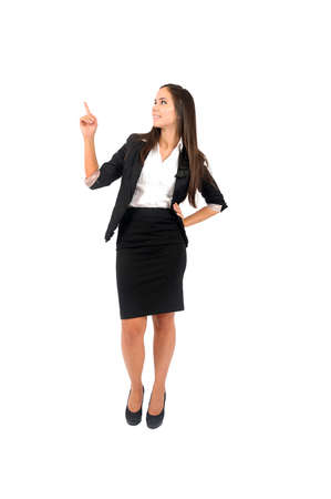 Isolated young business woman pointing Stock Photo - 15388063