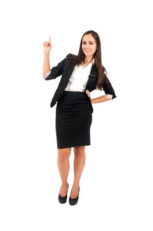 Isolated young business woman pointing Stock Photo - 15388024