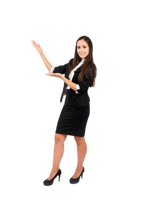 something: Isolated young business woman presenting Stock Photo