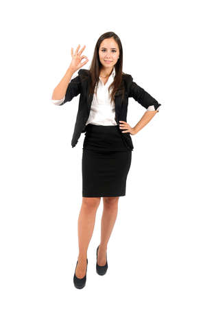 Isolated young business woman approval Stock Photo - 15387928