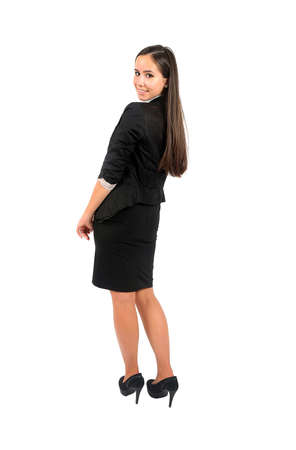 fold back: Isolated young business woman standing