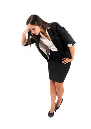 see side: Isolated young business woman looking down