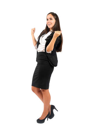 full strenght: Isolated young business woman happy