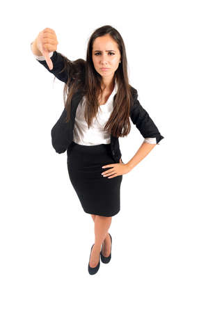 reject: Isolated young business woman reject
