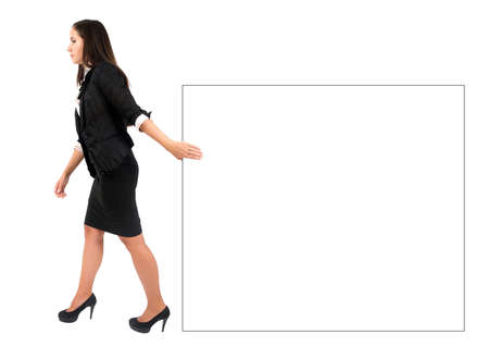 Isolated young business woman pull something Stock Photo - 15387956