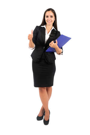 Isolated young business woman agree Stock Photo - 15387950