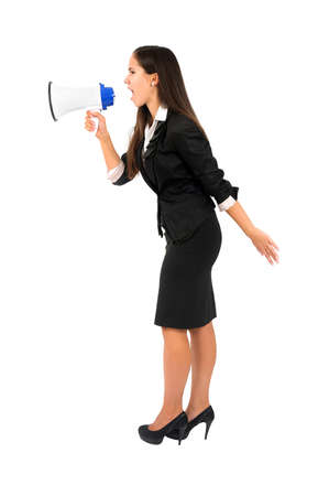 Isolated young business woman with megaphone photo