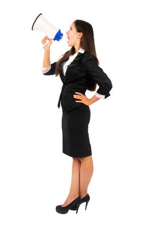 Isolated young business woman with megaphone Stock Photo - 15387949