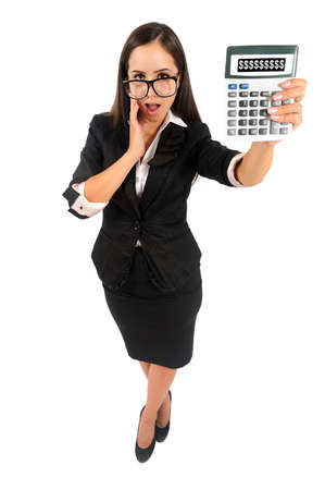 Isolated young business woman showing calculator photo
