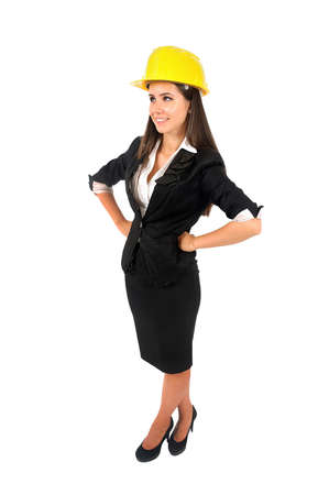 Isolated young worker girl with helmet Stock Photo - 15387860