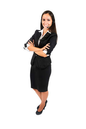 Isolated young business woman customer photo