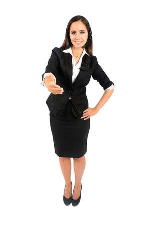 Isolated young business woman customer handshake photo