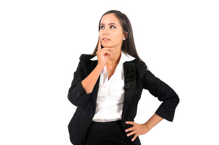 Isolated young business woman thinking Stock Photo - 15387826