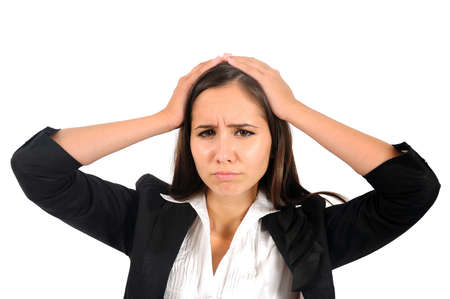 Isolated young business woman headache Stock Photo - 15387680