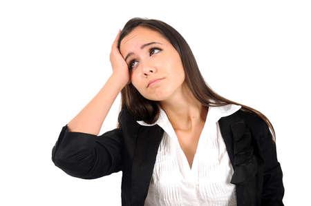 mujer decepcionada: Mujer aislada negocio joven desilusionado Foto de archivo