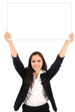 Isolated young business woman showing something Stock Photo - 15387845