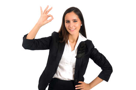 Isolated young business woman positive Stock Photo - 15387777