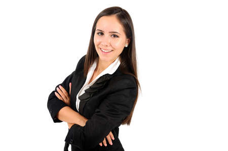 Isolated young business woman standing Stock Photo - 15387761
