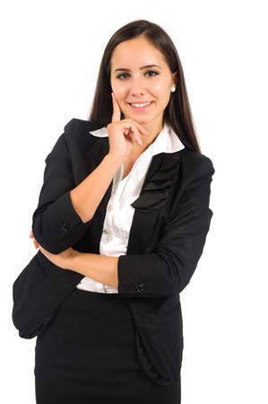 Isolated young business woman standing Stock Photo - 15387678