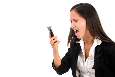 woman screaming: Isolated young business woman screaming at phone Stock Photo